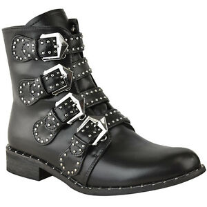 25e71729984 Image is loading Womens-Ladies-Studded-Flat-Low-Heel-Cowboy-Ankle-