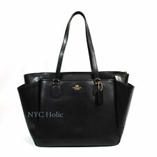 New Coach F35702 Baby Diaper Bag Tote In Crossgrain Leather Black NWT