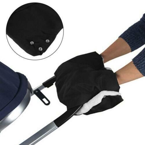 Winter Warmer Fleece Gloves Pram Pushchair Hand Muff Waterproof Stroller Black