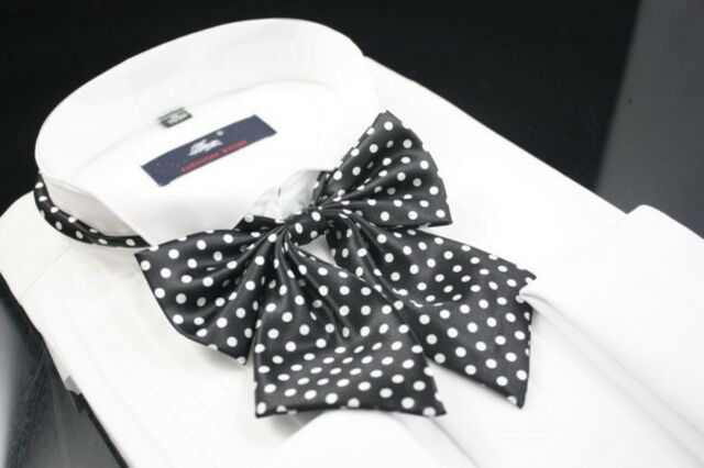 3 pcs 103D-1 Classic New White Polka Dots Black Adjustable Unisex Bow Tie