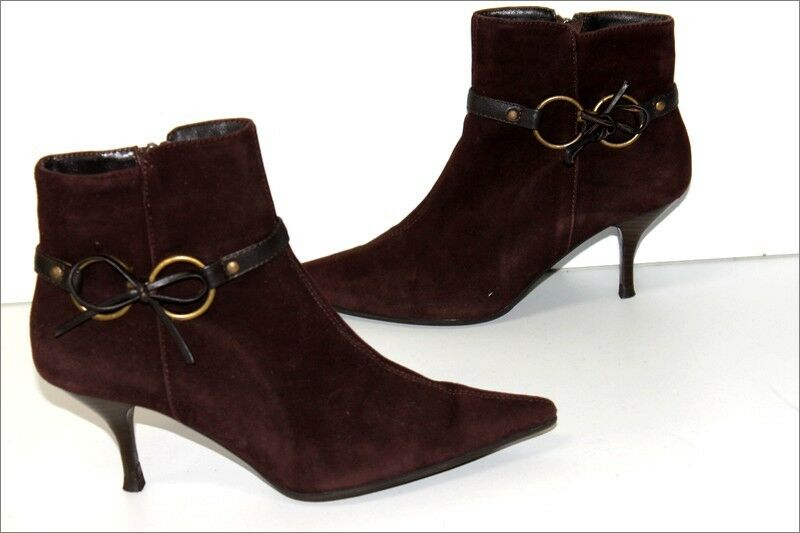 MINELLI boots booties Pointed Nubuck Dark brown T 37 BE