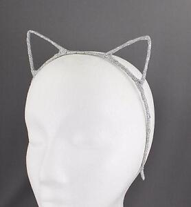 Silver sparkly cat kitten ears headband hair band accessory kawaii cosplay