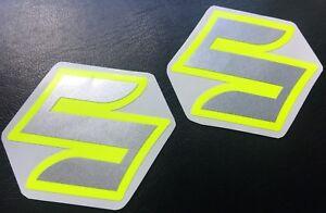 Details Zu Aufkleber Set 2 Teilig Für Suzuki Gsxr Gsx R 600 750 1000 Emblem Silber Neongelb