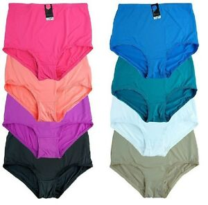 S to 4XL  Mixed Colours Multi-pack Nylon Satin High Cut Brief