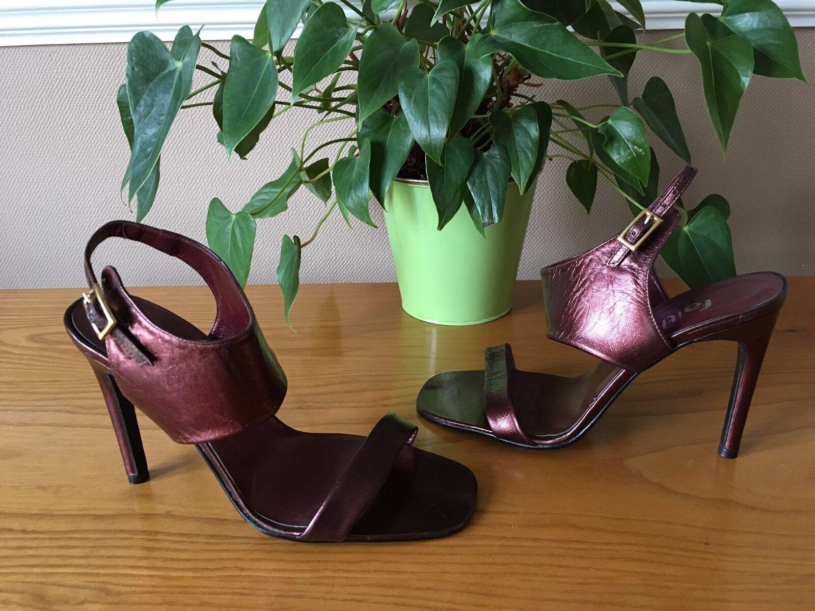 Ladies Faith mettalic rose gold leather strappy stiletto shoes UK 4 EU 37 NEW