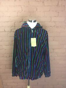 NWT-Mens-Godbody-Track-Suit-Jacket-Size-Large-Velour-Multicolored-Full-Zip-S41