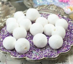Spun-Cotton-Balls-White-Set-of-10-Floral-Imported-from-Germany