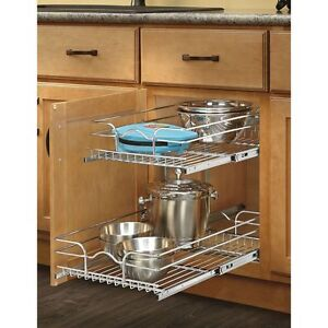 Details about Pull Out 2-Tier Metal Cabinet Basket Undercounter Rack  Organizer Kitchen Shelf