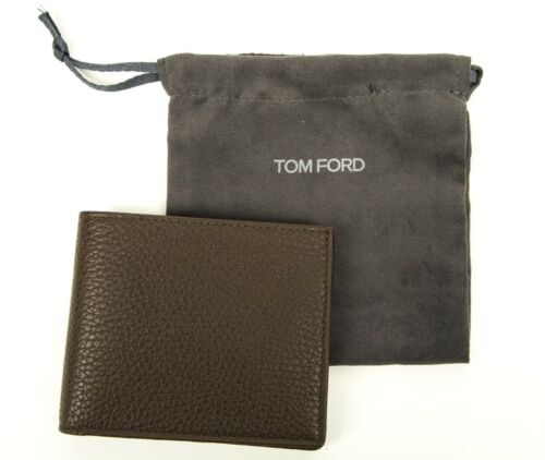 Tom Ford Greenish Brown Grained Leather Bifold Wallet Card Holder Made in Italy