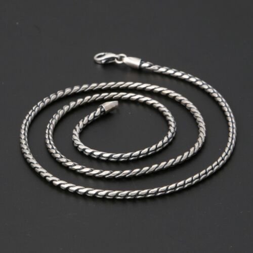 New Pure S925 Sterling Silver Chain Men Women 2.5mm Wide Simple Rope Necklace