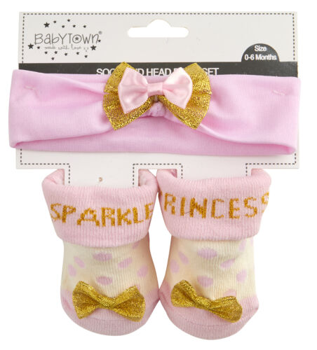 Baby Girl New Cute sparkle princess Socks And Headband Set  0-6 12 Months