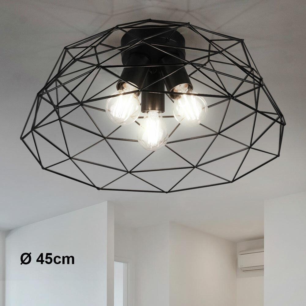 Retro Stil Decken Lampe Gitter Käfig Küchen Flur Vintage Leuchte schwarz matt