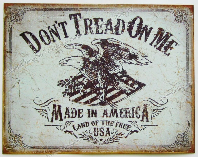 DTOM Eagle Land of Free USA TIN SIGN rustic patriotic metal bar wall decor 2008