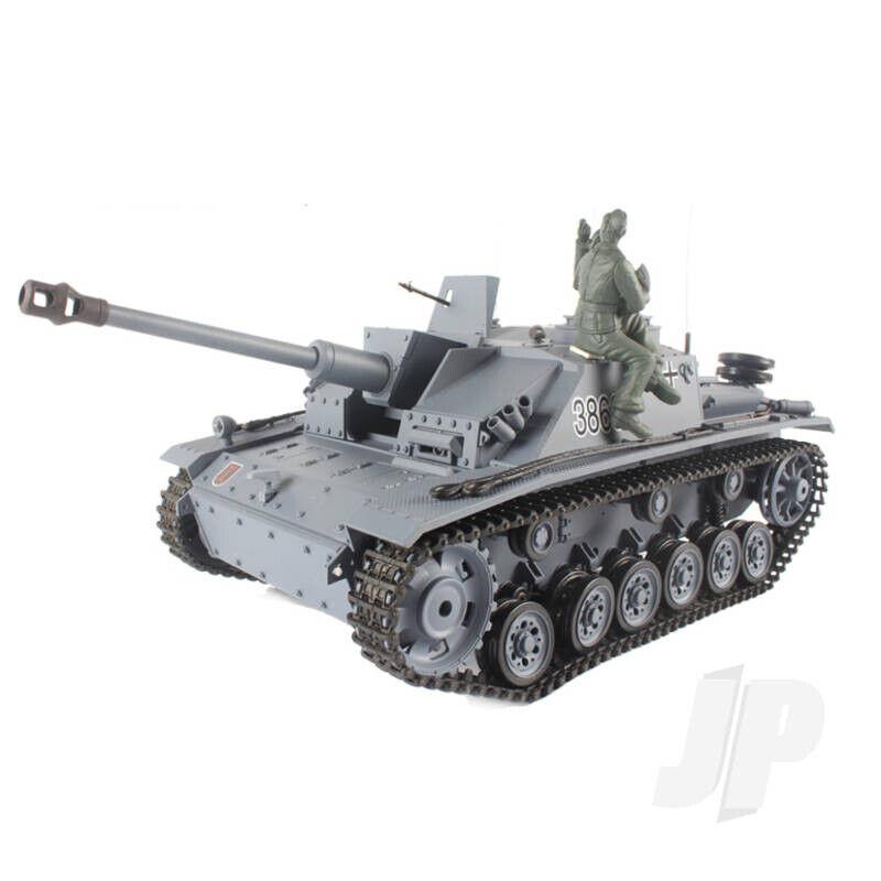 Henglong 1 16 German Stug Tanque RC dispara BB de plástico III's con Humo Y Sonido