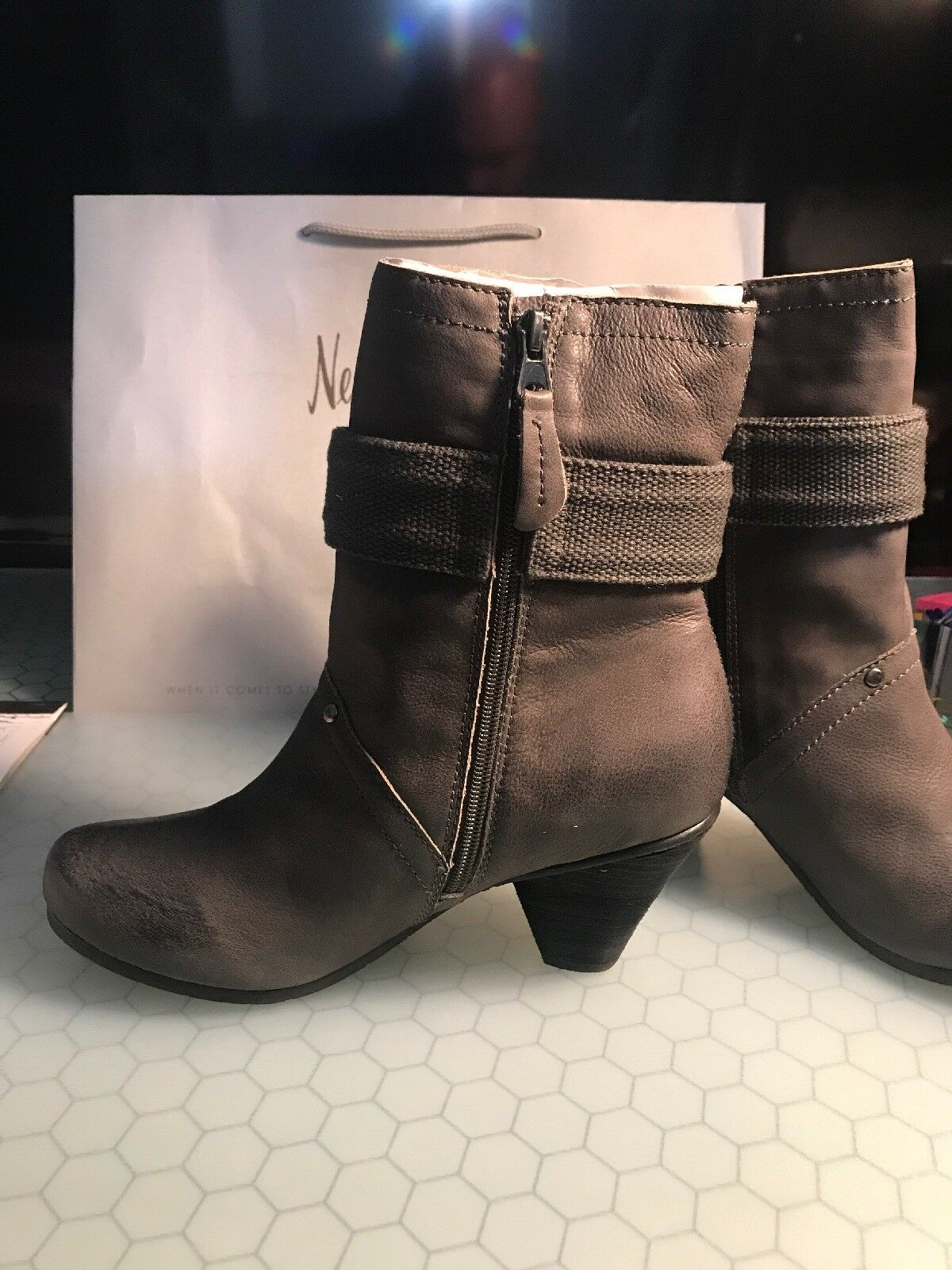 Kelsi Dagger Brooklyn Firas Leather Leather Leather Boots Charcoal Grey Size 10 NIB fe8e87