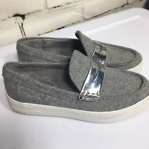Michael-Kors-gray-slip-on-shoes-Size-8
