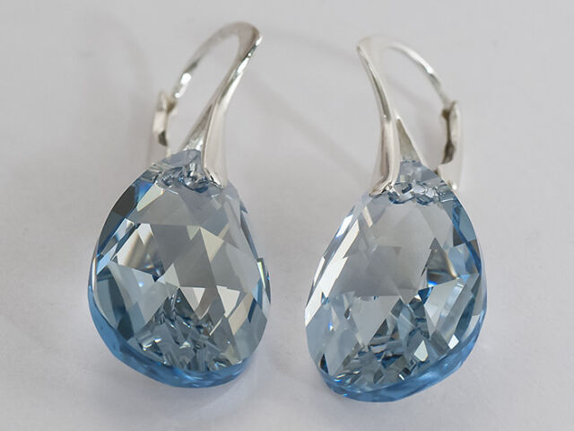 BIG PEAR 22 mm  GENUINE SWAROVSKI CRYSTAL earrings - STERLING SILVER