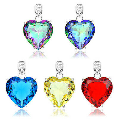 Special Romantic Gift Heart Rainbow Fire Mystical Topaz Gemstone Silver Pendant