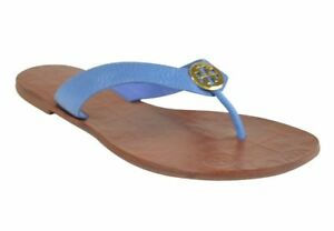 21a8f1dd3567 NEW WOMENS TORY BURCH THORA THONG FLAT TUMBLED LEATHER CHAMBRAY GOLD ...