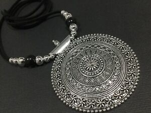 Long BLACK Suede Necklace With A Large Oval Ethnic Tibetan Silver Pendant Boho