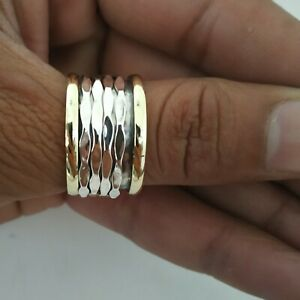 Spinner-Ring-925-Sterling-Silver-Wide-Band-amp-Brass-Ring-Handmade-All-Size-P-10