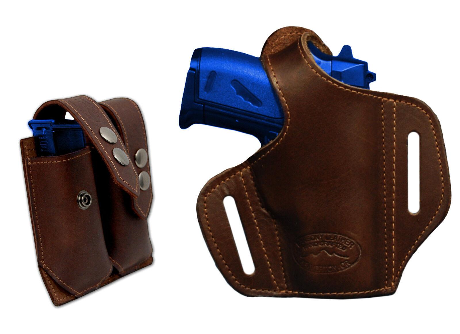 NEW Barsony marrón Leather Pancake Gun Holster + Mag Pouch Beretta Mini 22 25 380