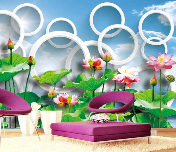 3D Lotus And Circle 619 WallPaper Murals Wall Print Decal Wall Deco AJ WALLPAPER