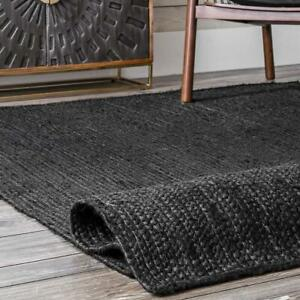 Rug Natural Jute Braided Black Reversible Rug Hemp Carpet Modern Living Area Rug