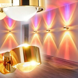 Wohn Schlaf Zimmer Leuchten Up Down Wand Lampen Flur Dielen Strahler Weiß-Gold