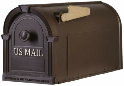 Post Mount Mailbox Bronze Large Durable Rust Dent Resistant With Gold Lettering