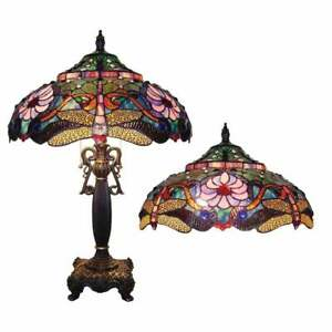 Tiffany-Style-Finition-Bronze-Libellule-Lampe-de-table-d-039-appoint-lecture-STAINED-GLASS