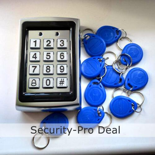 Password Metal Door Access Control Keypad+10 RFID Keyfobs New 125KHz RFID Card