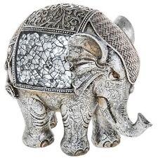 Large Silver Crackle Elephant Statue Ornament Figurine