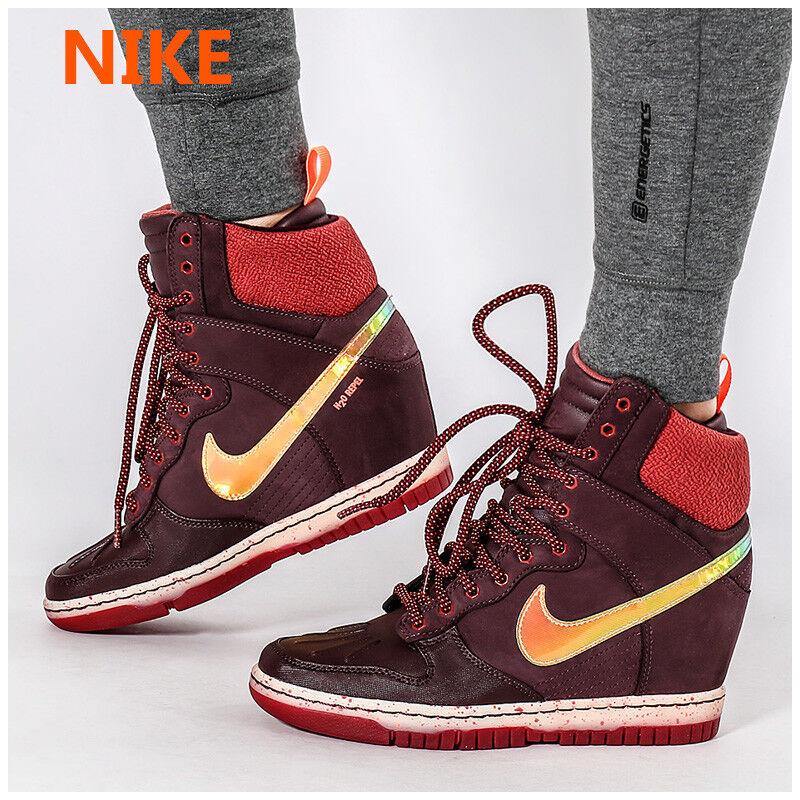 Nike e sky hi sneakerboot borgogna cuneo scarpa iridescente ologramma donne 7