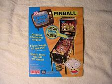 Family Guy Pinball Machine Original Sales Flyer  New Old Stock