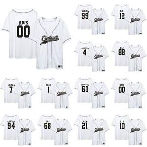 KPOP-EXO-CHANYEOL-BAEKHYUNS-KAI-LAYS-Jersey-Button-Down-Baseball-Tshirt-Tops