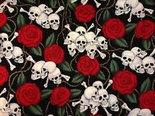 Alexander Henry 2001 Skulls w Red Roses Fabric ~ by the HALF YARD