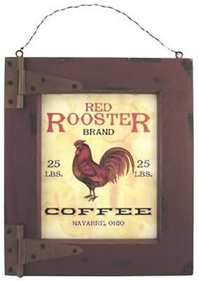 """RUSTIC FRAMED PRINT SIGN RED ROOSTER BRAND COFFEE ADVERTISING 14-1//2/"""" x 12-1//2/"""""""