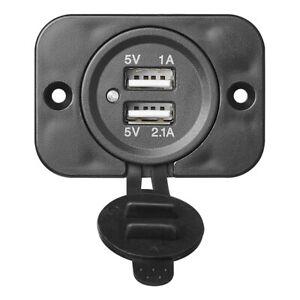 2x-USB-Doppel-Einbausteckdose-2100mA-12V-24V-Motorhomes-Car-Einbuchst-Plug
