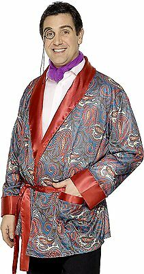 Mens Smoking Jacket Costume Pimp Playboy Parody Old Man Casanova Red Paisley NEW