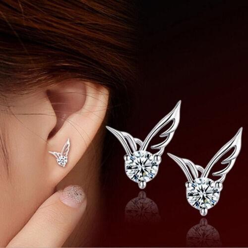 Fashion Women Jewelry Fairy Wings Crystal Cute Ear Stud Earrings Gift LH