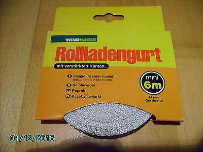 Rolladengurt Gurtband Rollladen 6m Breite 14mm grau NEU
