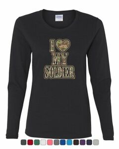 I Heart My Soldier Women's Long Sleeve Tee Cute Camo Army Wife Army Mom Military