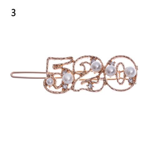 Haare Anzahl Haarspangen Rhinestone Haargriffe Pearl Letter Haarnadel Barretten