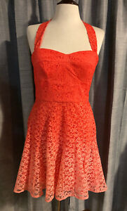 Womens-BETSEY-JOHNSON-Coral-Ombre-Lace-Halter-Dress-Size-10-G32