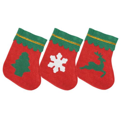 Pack of 12 Small Mini Miniature Felt Christmas Stockings 3 Designs