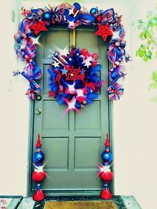 4th-of-July-Patriotic-Deco-Mesh-Wreath-Garland-amp-Topiary-Door-Decor-Buy-1-or-Set