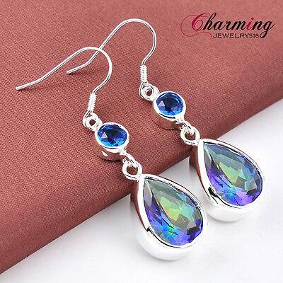 Holiday Gift Water Drop Rainbow Fire Mystical Topaz Gems Silver Hook Earrings