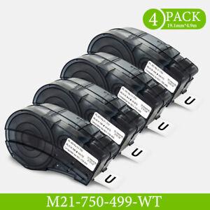 """4PK Label Cartridge Compatible M 21-750-499 Black/White Nylon 3/4"""" x 16' f"""