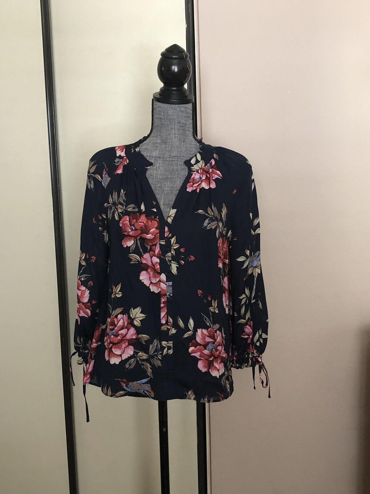 Joie 100% Silk V Neck Floral Printed Long Sleeves Silk Top Größe M New